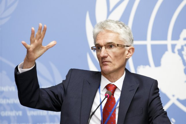 Mark Lowcock, UN Under-Secretary-General for Humanitarian Affairs and Emergency Relief Coordinator, warned of the worst humanitarian catastrophe of the century as more than 30,000 people have been internally displaced in the Syrian province of Idlib ahead of a planned offensive by the country's government. Photo by Salvatore Di Nolfi/EPA