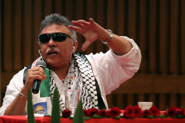 Former FARC rebel leader Jesus Santrich was arrested Monday on charges he attempted to traffic narcotics to the United States since last summer. File Photo by STR/EPA-EFE