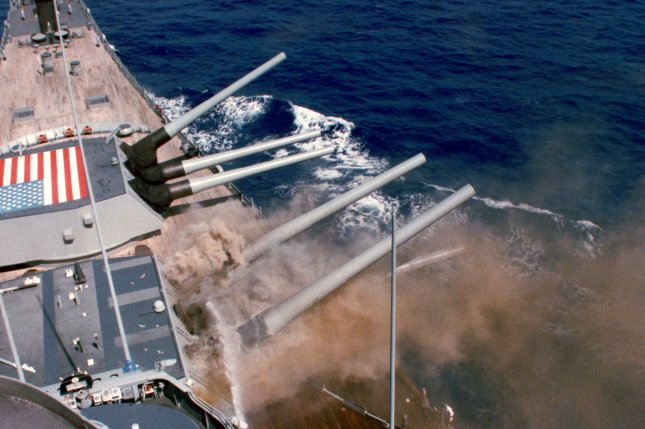 A photo taken from the bridge captures the explosion of the No. 2 16-inch gun turret aboard the battleship USS Iowa on April 19, 1989. It was later determined that 47 sailors were killed by the blast. File Photo courtesy of the U.S. Navy