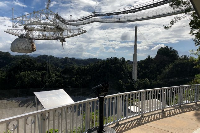 The Arecibo Observatory in Puerto Rico includes the world's most powerful radar telescope, which is undergoing millions of dollars of reconstruction after Hurricane Maria struck the island in 2017. Photo by Paul Brinkmann/UPI