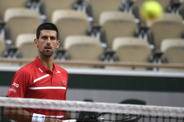 Novak Djokovic of Serbia (pictured) beat Ricardas Berankis of Lithuania in straight sets in the second round of the 2020 French Open on Thursday in Paris. Photo by Julien De Rosa/EPA-EFE