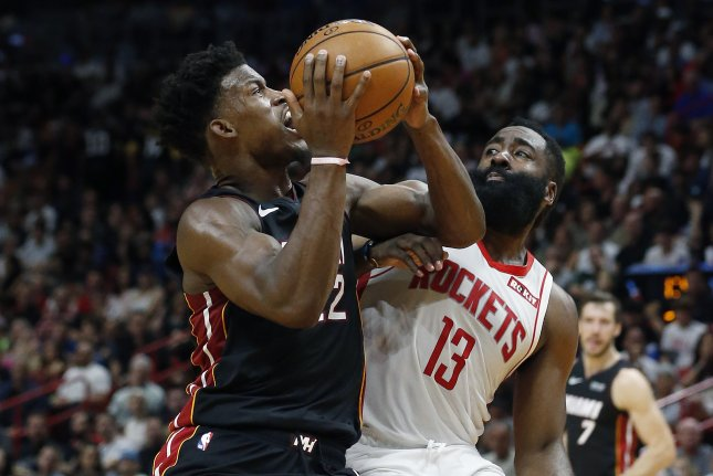 Jimmy Butler (L) had 18 points while James Harden (R) scored a game-high 29 points in the Miami Heat's win against the Houston Rockets Sunday in Miami. Photo by Rhona Wise/EPA-EFE