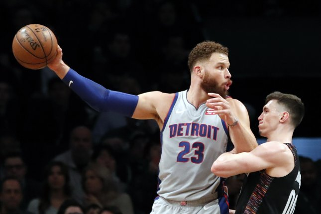 Detroit Pistons forward Blake Griffin (23) has yet to play this season because of left hamstring and posterior knee soreness. File photo by Jason Szenes/EPA-EFE
