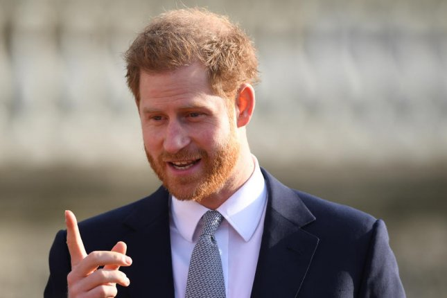 Britain's Prince Harry hosts the Rugby League World Cup 2021 draw in the gardens of Buckingham Palace in London on January16. File Photo by Neil Hall/EPA-EFE