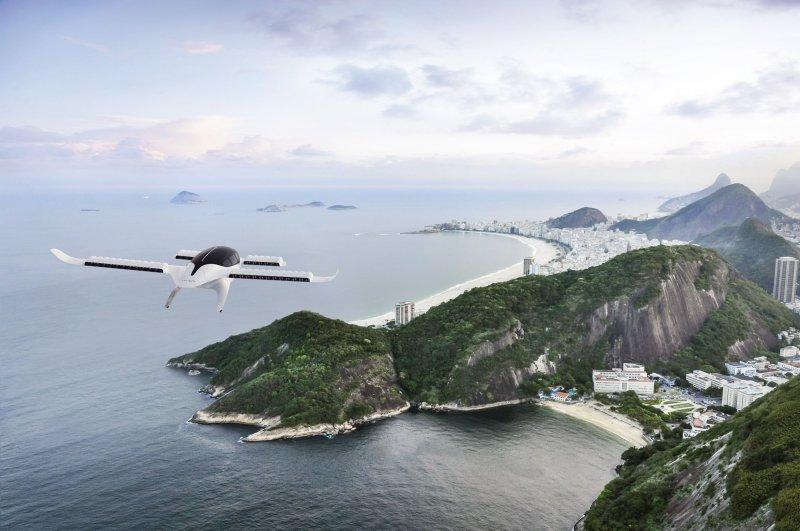 A rendering the of 7-seater Lilium jet flying towards Rio de Janeiro. Photo courtesy of Lilium