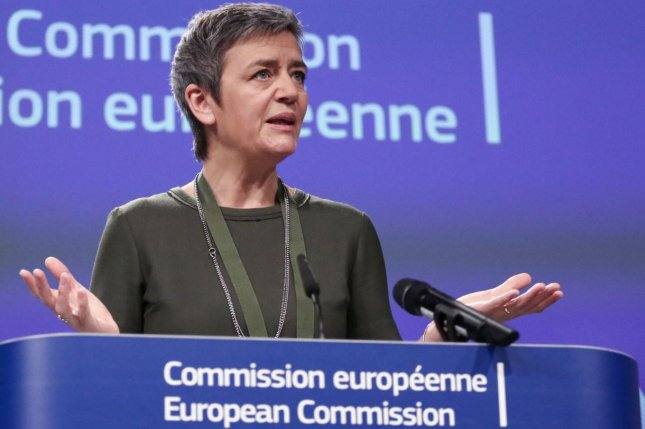Margrethe Vestager, European Commission chief of competition policy, announced a $2.7 billion fine Tuesday against Google Inc. for favoring its own online search searches over its competitors. File Photo by Aris Oikonomou/EPA