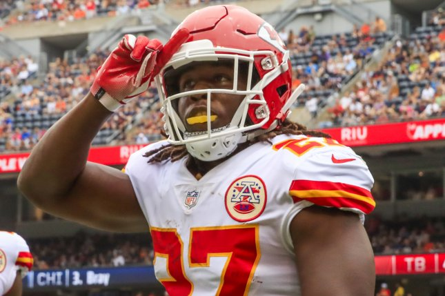 Kansas City Chiefs running back Kareem Hunt scored three touchdowns against the Cincinnati Bengals on Sunday at Arrowhead Stadium in Kansas City. Photo by Tannen Maury/EPA-EFE