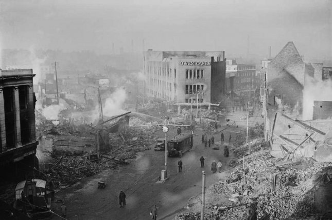 The city center of Coventry, England, after the November 14, 1940, blitz of World War II. File Photo courtesy of Britain's War Office