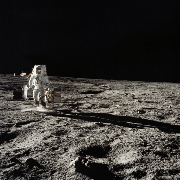 Astronaut Alan Bean walks on the surface of the moon November 19, 1969, as part of Apollo 12. File Photo courtesy of NASA