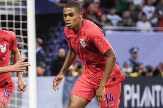 Defender Reggie Cannon scored the third goal for the United States in a 4-0 shutout of Costa Rica on Wednesday in Sandy, Utah. Photo by Tannen Maury/EPA-EFE