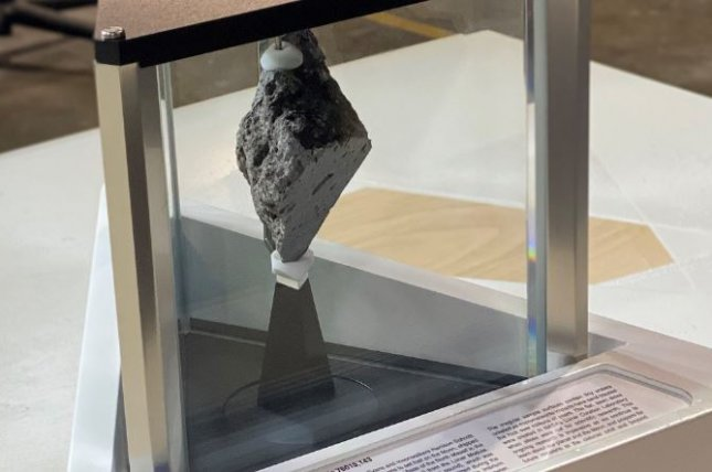 The moon rock known as Lunar Sample 76015,143, installed last week as an exhibit in the Oval Office by President Joe Biden, was retrieved in 1972 from a large boulder during the Apollo 17 mission. Photo courtesy of NASA