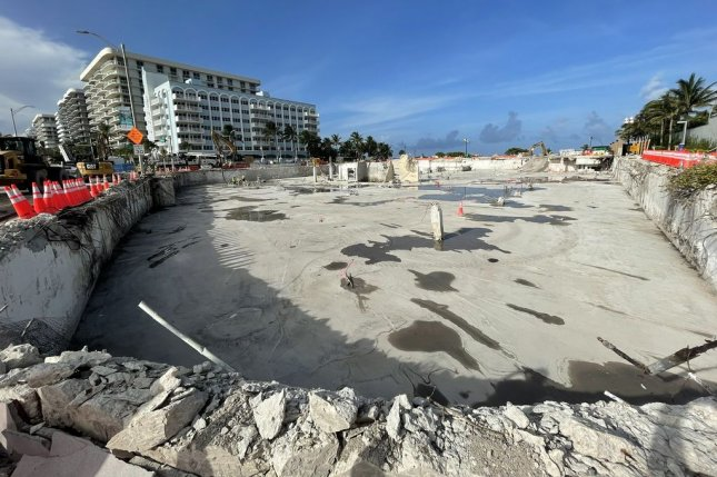 A photo posted by Florida State Sen. Jason Pizzo on Wednesday showed a large empty space in Surfside, Fla., where there was once 22 million pounds of rubble. Photo by Fla. State Sen. Jason Pizzo/Twitter