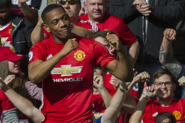 Manchester United's Anthony Martial has 19 goals this season after a hat trick in a win against Sheffield United on Wednesday in Manchester, England. Photo by Peter Powell/EPA