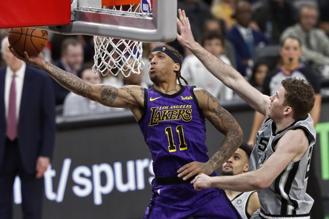 Former Los Angeles Lakers forward Michael Beasley (L)last played in the NBA during the 2018-19 campaign with the Lakers, averaging seven points and 2.3 rebounds in 26 games. File Photo by Larry W. Smith/EPA-EFE