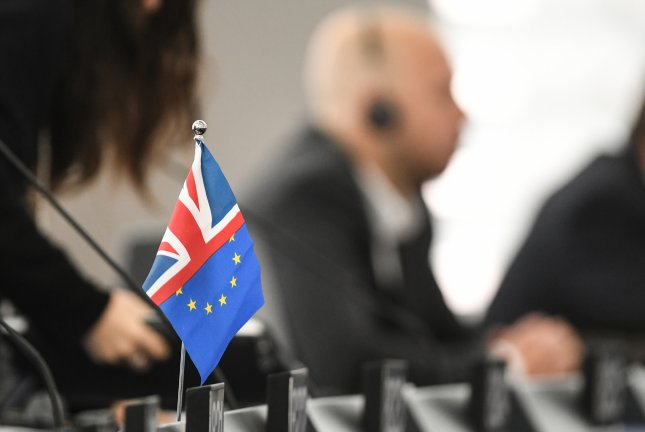 A British-EU flag stands on a table at the final Brexit summit on Tuesday in Strasbourg, France. File Photo by Patrick Seeger/EPA-EFE