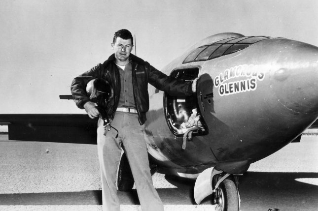 Capt. Charles Chuck Yeager is pictured standing next to the X-1 supersonic research aircraft in 1947. Yeager, who died Monday, became the first man to fly faster than the speed of sound on October 14, 1947. File Photo courtesy of U.S. Air Force