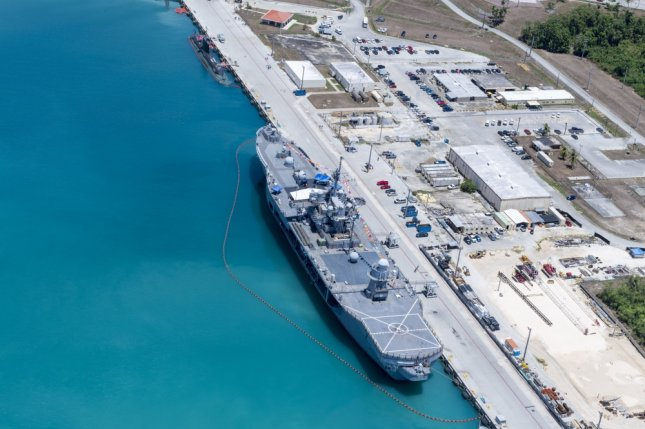 The U.S. 7th Fleet flagship USS Blue Ridge moored in Apra Harbor, Santa Rita, Guam, in support of the  Pacific Vanguard exercise on Wednesday.  Photo by Mass Communication Specialist 2nd Class Jasen Moreno-Garcia/U.S. Navy