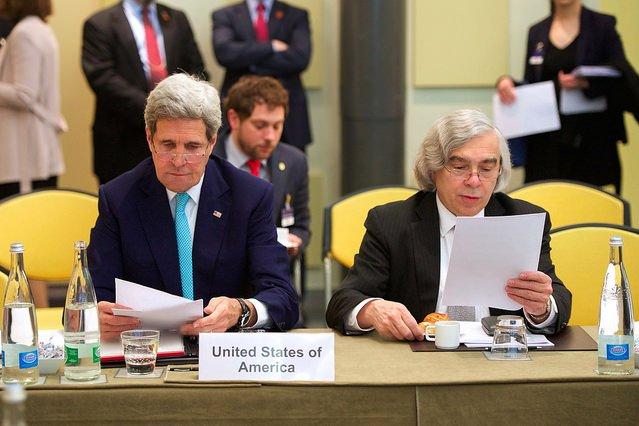 U.S. Secretary of State John Kerry, left, and U.S. Energy Secretary Ernest Moniz review notes before nuclear negotiations resumed with Iran on April 2, 2015 in Lausanne, Switzerland. Photo courtesy of the U.S. State Department.