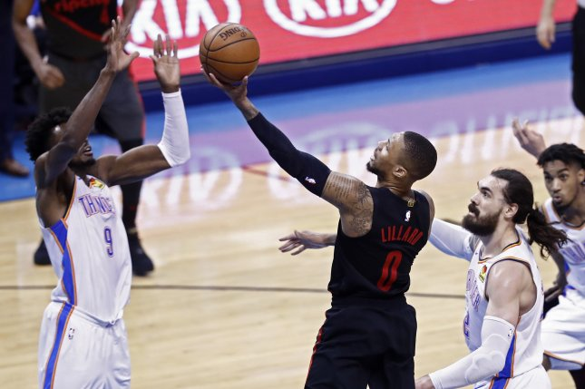 Portland Trail Blazers star Damian Lillard (0) agreed to a four-year, $196 million super maximum contract with the Trail Blazers on Sunday. File Photo by Larry W. Smith/EPA-EFE