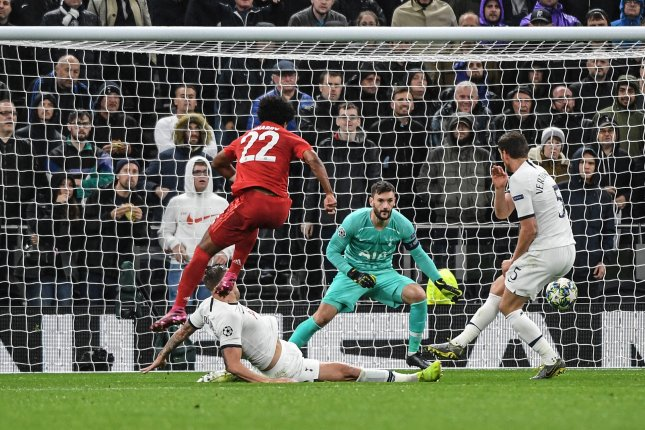 Serge Gnabry (22) scored four goals in Bayern Munich's lopsided victory against Tottenham Hotspur Tuesday at Tottenham Hotspur Stadium in London. Photo by Andy Rain/EPA-EFE