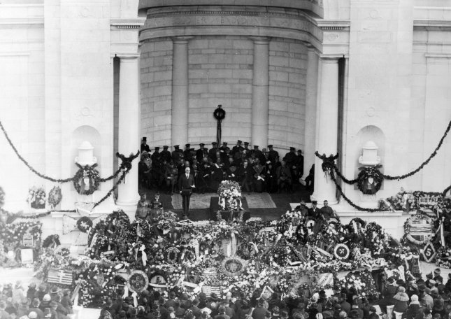President Warren Harding presides over the burial of an unknown soldier at Arlington National Cemetery on Nov. 11, 1921. File Photo by Library of Congress/UPI
