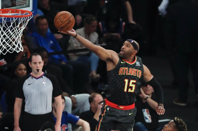 Atlanta Hawks guard Vince Carter will pass the NBA record of 21 seasons played, which is currently held between Dirk Nowitzki, Kevin Garnett, Robert Parish and Kevin Willis. File Photo by Jason Szenes/EPA-EFE