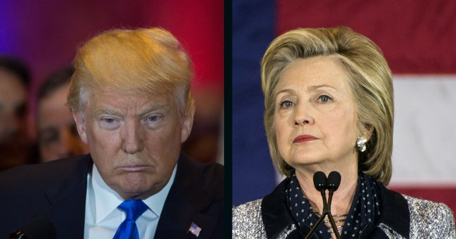 Hillary Clinton maintains a slim lead over Donald Trump in the UPICVoter tracking poll released Friday. UPI file photos