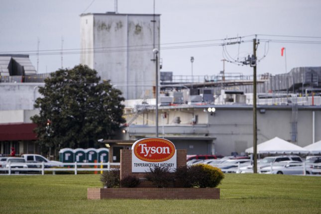 China has banned poultry imported from a Tyson Foods poultry plant in Springdale, Ark. Pictured is a Tyson complex in Temperanceville, Va., on April 28, 2020. File photo by Shawn Thew/EPA-EFE
