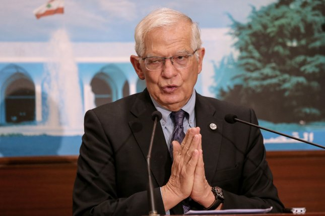 EU High Representative Josep Borrell speaks at a news conference Saturday after his meeting with Lebanese president Michel Aoun at the presidential palace near Beirut. Photo by Nabil Mounzer/EPA-EFE
