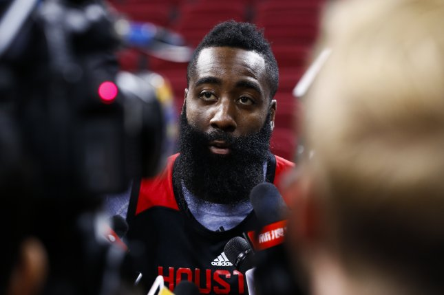 b849ab5c3659 Houston Rockets star James Harden. Photo by Rolex Dela Pena EPA. May 7  (UPI) -- Dante Exum was whistled for a foul after being hit in the face ...