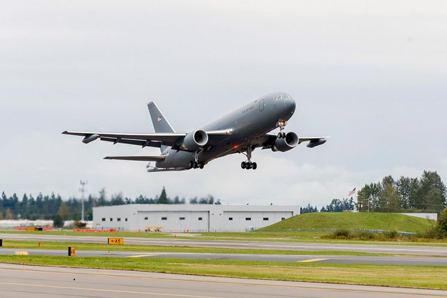A KC-46 departs Boeing's plant headed for McConnell Air Force Base on Jan. 25. Photo courtesy of Boeing
