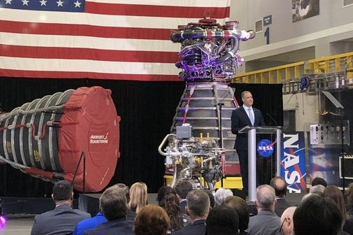 Jim Bridenstine, NASA administrator, speaks at a State of NASA address at Stennis Space Center in Mississippi, introducing the agency's 2021 budget request and outlining it's priorities for the next decade. Photo by NASA/Twitter