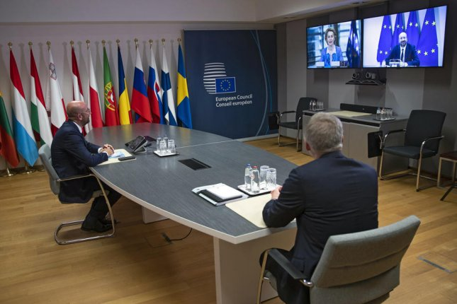 European Council President Charles Michel (L) speaks with European Commission President Ursula von der Leyen via teleconference prior to Brexit talks at the European Council building in Brussels, Belgium, on June 15. File Photo by Francisco Seco/EPA-EFE/Pool