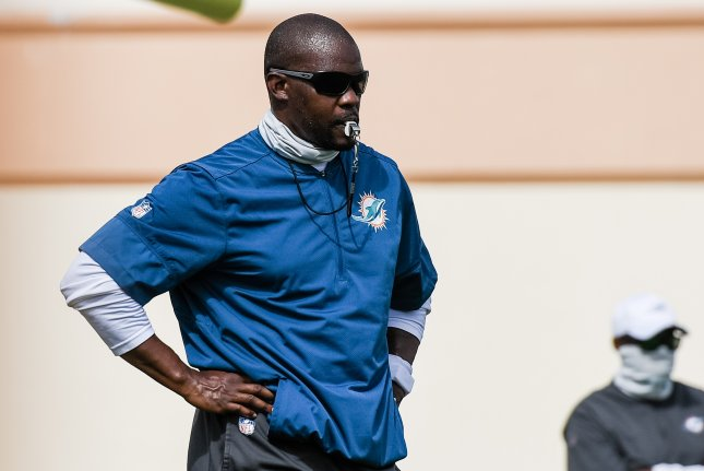 Miami Dolphins coach Brian Flores (pictured) said he asked the team's special teams unit and defense to step up to help Tua Tagovailoa get a win in his first start Sunday in Miami Gardens, Fla. Photo courtesy of Carlos Goldman/Miami Dolphins