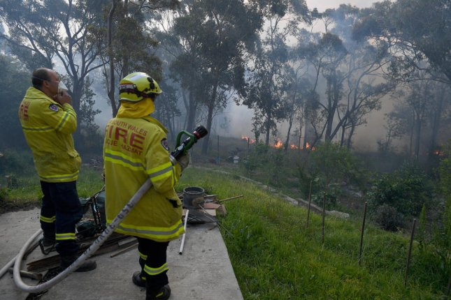Firefighters battle a brush fire in Woodford, Australia, on November 8. Photo by Dan Himbrechts/EPA-EFE