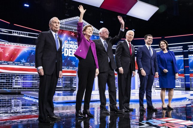 Six presidential candidates took the stage in Las Vegas on Wednesday for a debate ahead of the Nevada caucuses on Saturday. Photo by Etienne Laurent/EPA-EFE