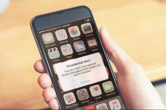 Recipients of the test message of the new Presidential Alert system heard a tone and vibration before receiving a message that reads THIS IS A TEST of the National Wireless Emergency Alert System. Photo courtesy of FEMA