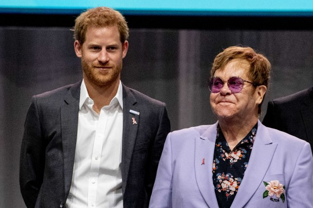 Prince Harry (L) and Elton John attend the International AIDS Conference in Amsterdam, Netherlands, on Tuesday. Photo by Robin Utrecht/EPA-EFE