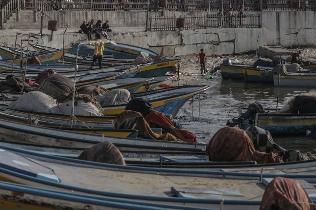 Palestinian fishing boats are moored in a Gaza port Thursday in west Gaza. Photo by Mohammed Saber/EPA-EFE