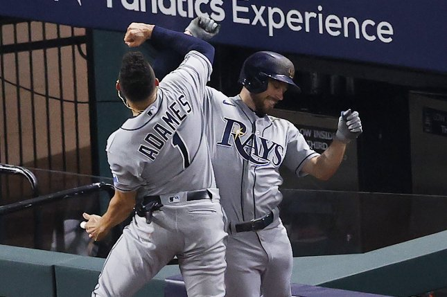 Tampa Bay Rays second baseman Brandon Lowe (R) celebrates with teammate Willy Adames (L) after hitting a two-run home run against the Los Angeles Dodgers during the fifth inning in Game 2 of the World Series on Wednesday night at Globe Life Field in Arlington, Texas. Photo by John G. Mabanglo/EPA-EFE