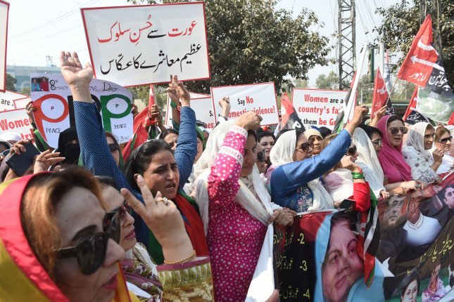 Pakistani women rally Thursday to mark International Women's Day in Lahore, Pakistan. Photo by Rahat Dar/EPA-EFE