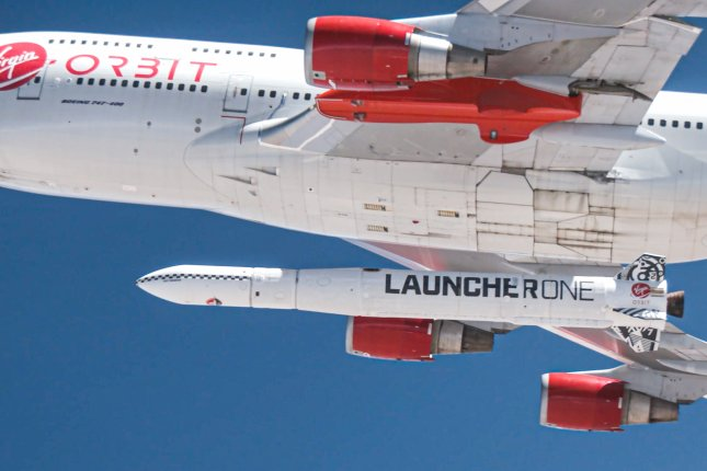 Virgin Orbit's LauncherOne rocket, like one shown here in a 2019 test over the Pacific Ociean, is scheduled to launch science experiments for NASA and several universities on Sunday. Photo by Greg Robinson/courtesy of Virgin Orbit