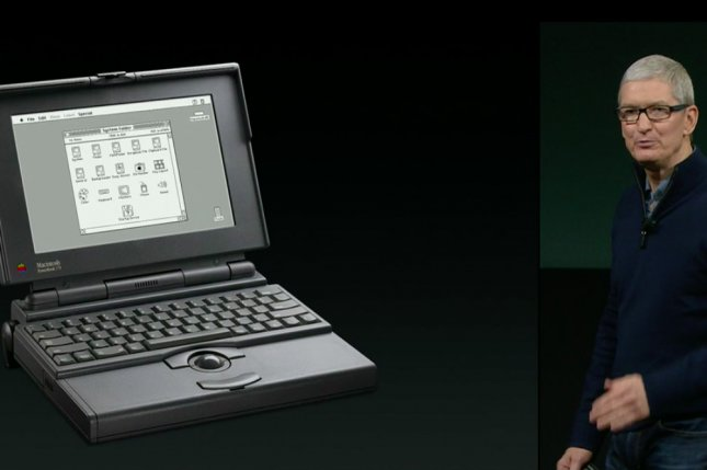 Thursday was the 25th anniversary of Apple's first PowerBook, shown here with CEO Tim Cook at the Apple Special Event announcing new MacBook Pros. Screenshot