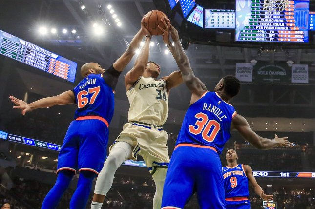 Milwaukee Bucks forward Giannis Antetokounmpo (34) scored a game-high 29 points in a win against the New York Knicks Monday in Milwaukee. Photo by Tannen Maury/EPA-EFE