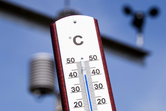 A thermometer in Arnhem, the Netherlands, reads a temperature of over 40 degrees Celsius -- or 104 degrees Fahrenheit on July 25. Photo by Vincent Jannink/EPA-EFE