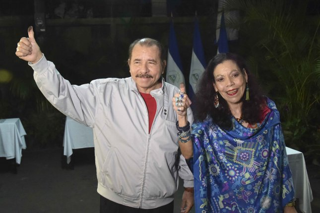 The Trump administration on Friday sanctioned two officials in the government of Nicaraguan President Daniel Ortega, shown with his wife Rosario Murillo in Managua, Nicaragua, on Nov. 6, 2016. Photo by Rodrigo Arangua/EPA