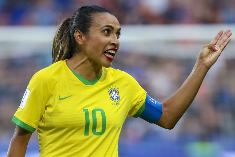 Brazil's Marta scored a goal in each half of a shutout win against China at the 2020 Summer Games on Wednesday in Rifu, Japan. Photo by Srdjan Suki/EPA-EFE