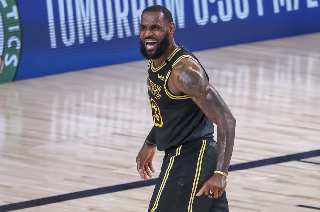 Los Angeles Lakers forward LeBron James scored 28 points and had 11 rebounds, nine assists and four steals in a win over the Houston Rockets Sunday in Orlando, Fla.  Photo by Erik S. Lesser/EPA-EFE