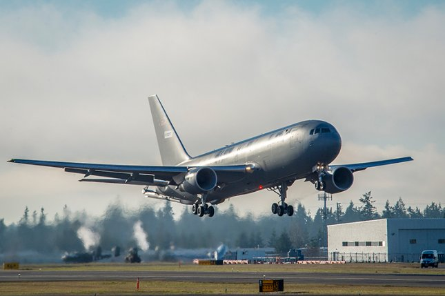 The first KC-46 tanker for the U.S. Air Force takes off from Paine Field in Everett, Wash., on its maiden flight. File Photo by Marian Lockhart/Boeing
