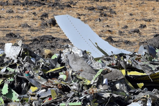 Debris is seen from an Ethiopian Airlines Boeing 737 Max 8 near Bishoftu, Ethiopia, on March 13, 2019. File Photo by EPA-EFE